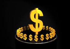 Shiney gold dollar signs. On A Black Pedestal Stock Photography