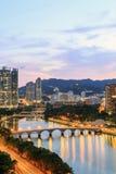 Shingen Mun River, Hong Kong - Februari 6, 2014 Fotografering för Bildbyråer
