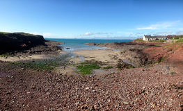 Shingle bay on the Pembrokeshire National Path. A panoramic of a shingle and sand bay on the Pembrokeshire National Path Royalty Free Stock Image