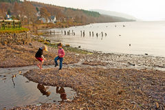 Shingle beach at Dores, Lochness stock image