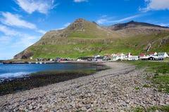 Shingle beach of Famjin, Suduroy, Faroe Islands. Faeroe Islands landscape . Shingle beach of Famjin, a village on the sea surrounded by unspoilt nature Stock Image
