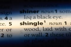 Shingle. Word in a dictionary.  concept stock images