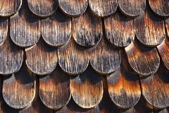 Shingle wooden facade or roof in austria Royalty Free Stock Image