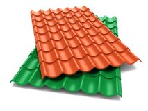 Shingles roof sheets. Isolate on white background Royalty Free Stock Photography