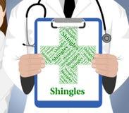 Shingles Word Shows Viral Disease And Afflictions. Shingles Word Meaning Ill Health And Disease Stock Photo