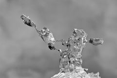 Shining abstract ice formations with grey background Royalty Free Stock Photo