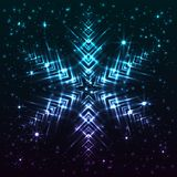 Shining abstract star snowflake. Bright, shining and glaring abstract snowflake. Beautiful decorative cosmic star on dark background. Vector EPS10 file Stock Image
