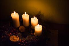 Shining Advent candles Stock Images