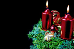 Shining Advent wreath on the black background. Stock Photography