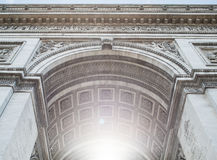 Shining Arc. Image from the Arc du Triomphe where the sun light is just outside the frame Royalty Free Stock Images