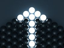 Shining arrow of dark balls. leadership concept Stock Photo