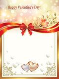 Shining background with hearts and lilies on Valentine's Day Stock Photo