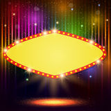 Shining background with retro casino light banner Stock Images