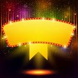 Shining background with retro casino light banner Royalty Free Stock Photo