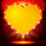 Shining background with retro heart banner Stock Photography