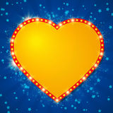 Shining background with retro heart banner Stock Images