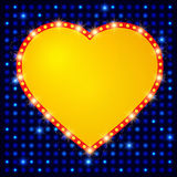 Shining background with retro heart banner Royalty Free Stock Photos