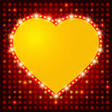 Shining background with retro heart banner Royalty Free Stock Image