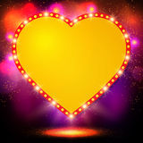 Shining background with retro heart banner Royalty Free Stock Photography