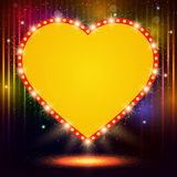 Shining background with retro heart banner Royalty Free Stock Images