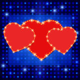 Shining background with retro heart banner Stock Photos