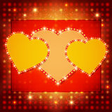 Shining background with retro heart banner Stock Photo