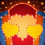 Shining background with retro heart light banner Royalty Free Stock Images