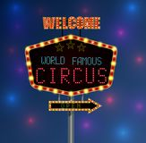 Shining background retro light banner with the word circus Royalty Free Stock Images