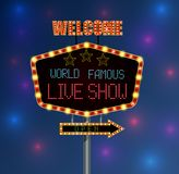 Shining background retro light banner with the word live show Royalty Free Stock Images