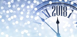 2018 shining banner with clock. 2018 New Year blue banner with clock and lights. Vector illustration Stock Photo