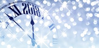 2018 shining banner with clock. 2018 New Year blue shining banner with clock. Vector illustration Stock Photo
