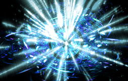 Shining big fantastic radial blast blue tint. Fractal art graphics Stock Images