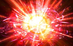 Shining big fantastic radial blast red tint. Fractal art graphics Royalty Free Stock Photo