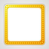 Shining blank square retro light banner Royalty Free Stock Images