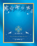 Shining blue Christmas background with tinsel and snowflakes Stock Images