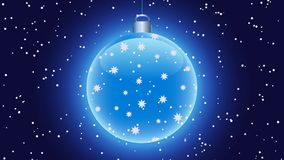 Shining blue christmas ball on dark background, with falling snow on the foreground stock illustration