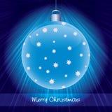 Shining blue glossy christmas ball Stock Photos