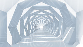 Shining blue tunnel interior perspective, 3d. Abstract hypnotic cg background with shining blue tunnel interior perspective, 3d illustration Stock Photo