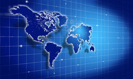 Shining blue world map over dark Royalty Free Stock Photo