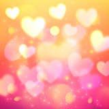 Shining bokeh effect hearts pink background Royalty Free Stock Photos
