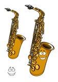 Shining brass saxophone cartoon character Stock Image