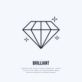 Shining brilliant illustration. Diamond jewelry flat line icon, gem stone store logo. Jewels luxury accessories sign Stock Image