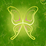 Shining butterflies green vintage Royalty Free Stock Image