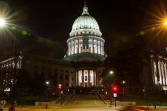 Shining Capitol at Night. MADISON, WISCONSIN, USA - SEPTEMBER 22, 2016: The capitol building of the state of Wisconsin is the center of downtown Madison and the Stock Photos
