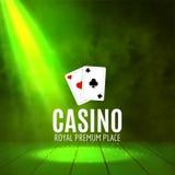 Shining Casino Banner Poster. Show spotlight casino design with cards. Casino poster Stock Photo