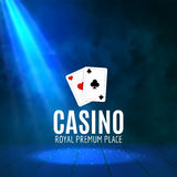 Shining Casino Banner Poster. Show spotlight casino design with cards. Casino poster Stock Images