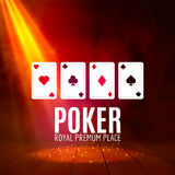 Shining Casino Banner Poster. Show spotlight casino design with cards. Casino poster Royalty Free Stock Images