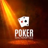 Shining Casino Banner Poster. Show spotlight casino design with cards. Casino poster Royalty Free Stock Image