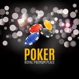 Shining Casino Poker Banner Poster. Show spotlight Poker design with chips. Casino poster Stock Images
