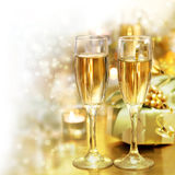 Shining Champagne Glasses (celebration) Royalty Free Stock Image